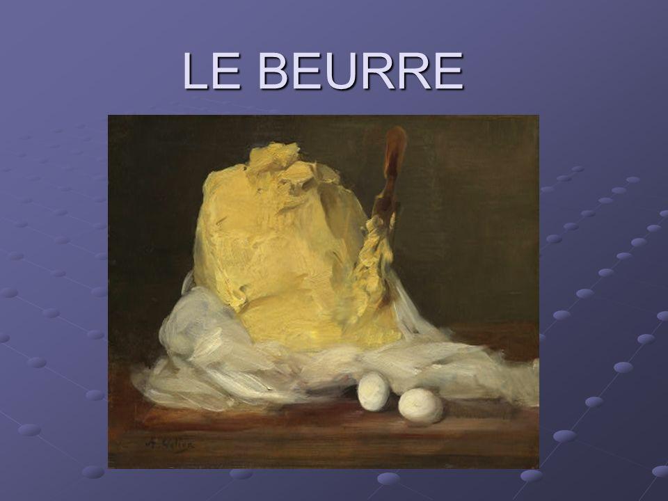 - le beurre cru - le beurre extra fin - le beurre fin - le beurre concentré - le beurre salé - le beurre demi-sel - le beurre AOC (Beurre de Charentes-Poitou, beurre dIsigny) - le beurre allégé La différence entre tout ces beurres vient de la quantité de matière grasse laitière et du traitement du lait ou de la crème avant la fabrication du beurre.