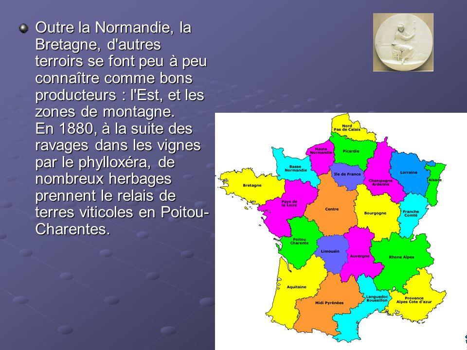 Outre la Normandie, la Bretagne, d'autres terroirs se font peu à peu connaître comme bons producteurs : l'Est, et les zones de montagne. En 1880, à la