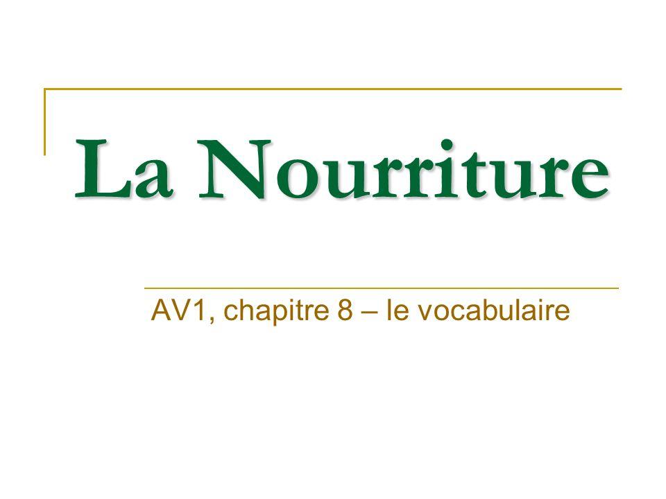La Nourriture AV1, chapitre 8 – le vocabulaire