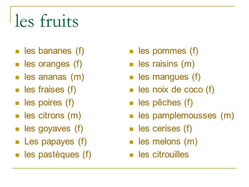 les fruits les bananes (f) les oranges (f) les ananas (m) les fraises (f) les poires (f) les citrons (m) les goyaves (f) Les papayes (f) les pastèques (f) les pommes (f) les raisins (m) les mangues (f) les noix de coco (f) les pêches (f) les pamplemousses (m) les cerises (f) les melons (m) les citrouilles