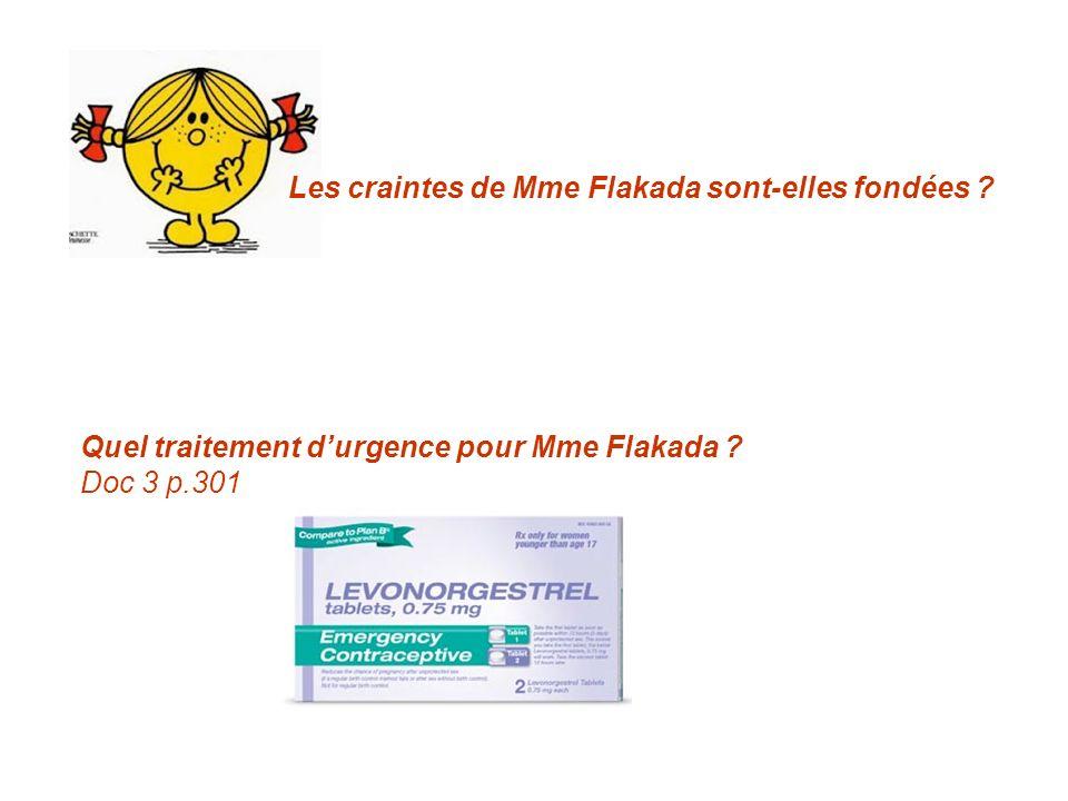 Les craintes de Mme Flakada sont-elles fondées ? Quel traitement durgence pour Mme Flakada ? Doc 3 p.301