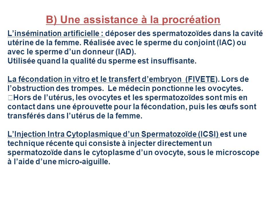 B) Une assistance à la procréation Linsémination artificielle : déposer des spermatozoïdes dans la cavité utérine de la femme. Réalisée avec le sperme