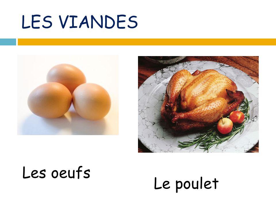 LES VIANDES Les oeufs Le poulet