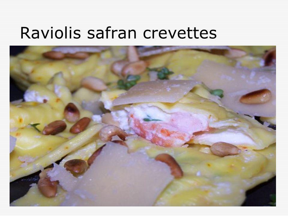 Raviolis safran crevettes