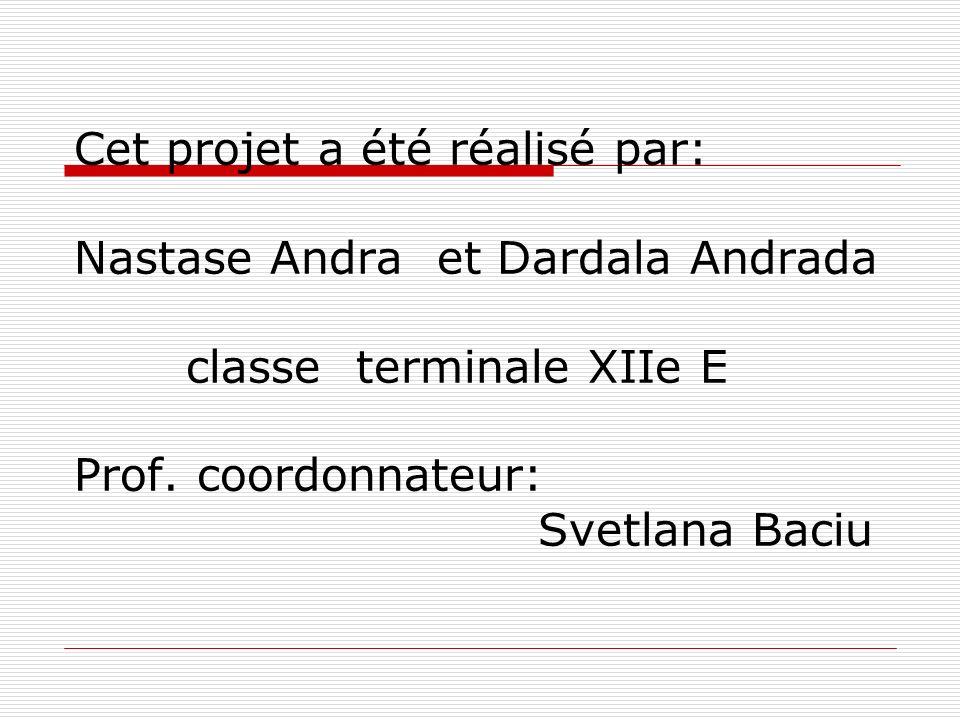 Cet projet a été réalisé par: Nastase Andra et Dardala Andrada classe terminale XIIe E Prof. coordonnateur: Svetlana Baciu