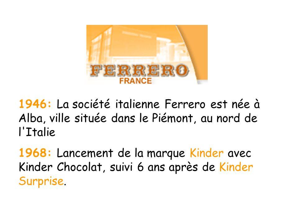1946: La société italienne Ferrero est née à Alba, ville située dans le Piémont, au nord de l'Italie 1968: Lancement de la marque Kinder avec Kinder C
