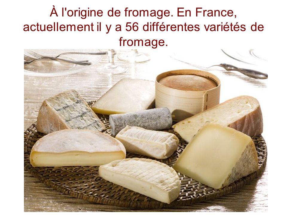 À l'origine de fromage. En France, actuellement il y a 56 différentes variétés de fromage.