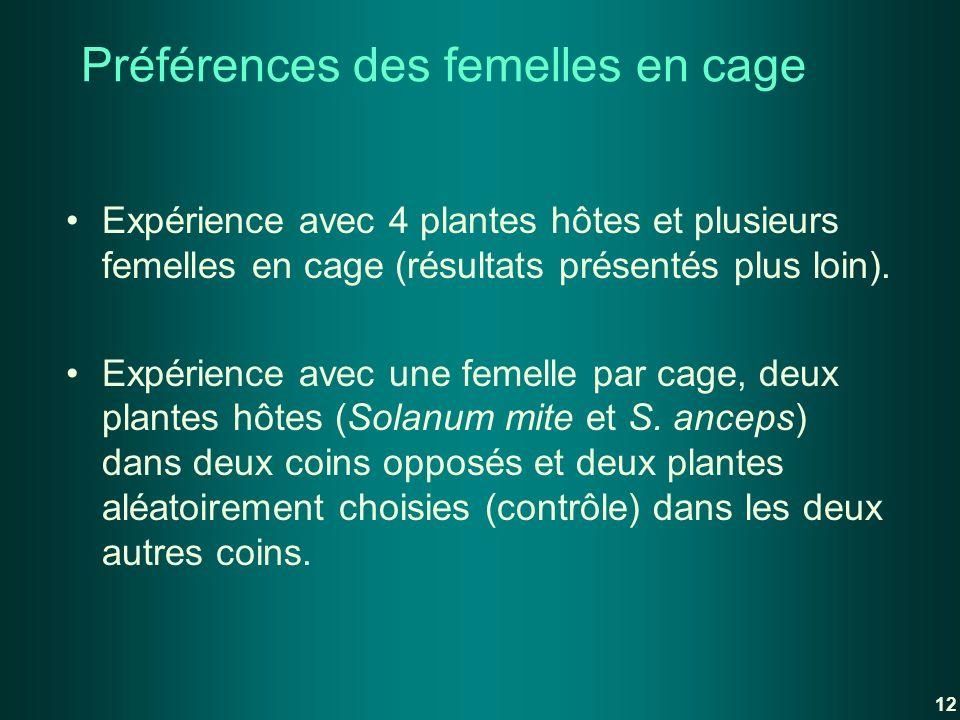 Préférences des femelles en cage Expérience avec 4 plantes hôtes et plusieurs femelles en cage (résultats présentés plus loin). Expérience avec une fe