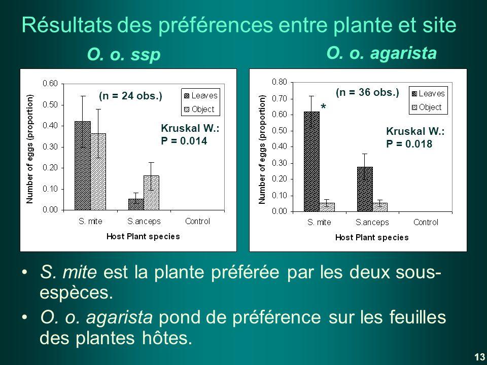 Résultats des préférences entre plante et site S. mite est la plante préférée par les deux sous- espèces. O. o. agarista pond de préférence sur les fe