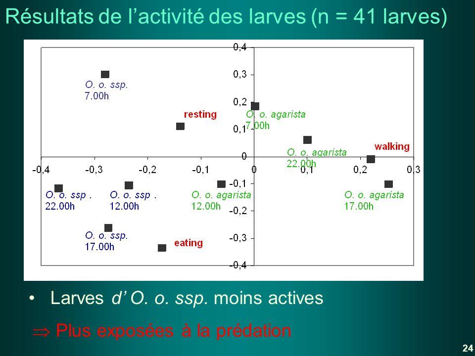 Plus exposées à la prédation Larves d O. o. ssp. moins actives Résultats de lactivité des larves (n = 41 larves) 24