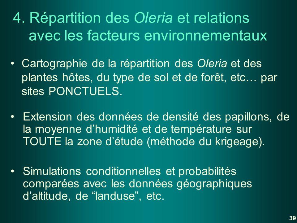 4. Répartition des Oleria et relations avec les facteurs environnementaux Cartographie de la répartition des Oleria et des plantes hôtes, du type de s