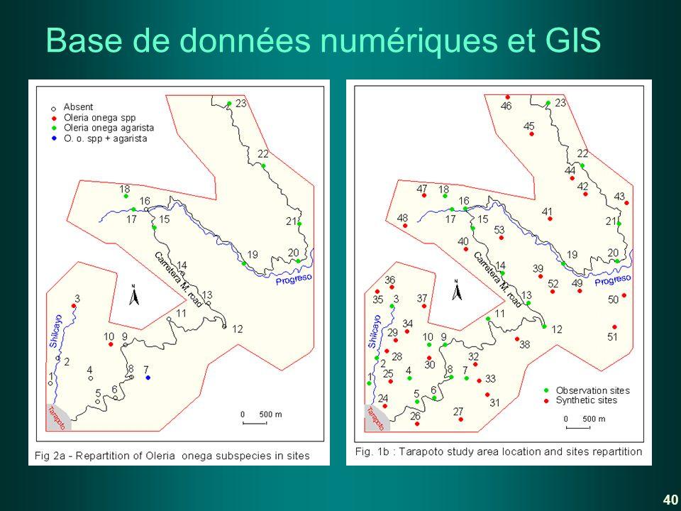 Base de données numériques et GIS 40