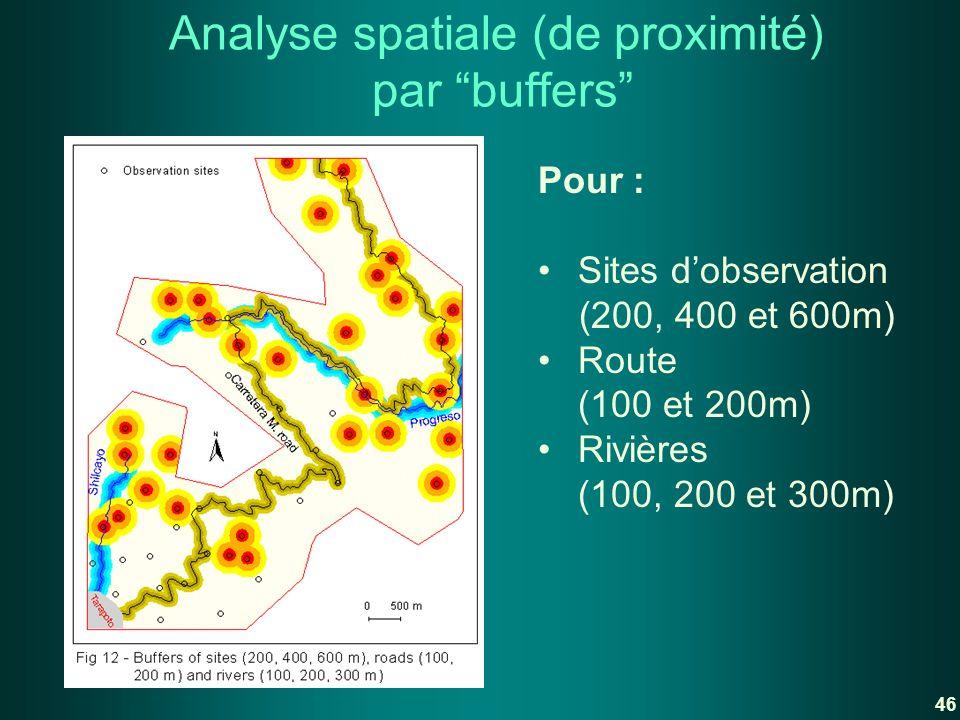 Analyse spatiale (de proximité) par buffers Pour : Sites dobservation (200, 400 et 600m) Route (100 et 200m) Rivières (100, 200 et 300m) 46