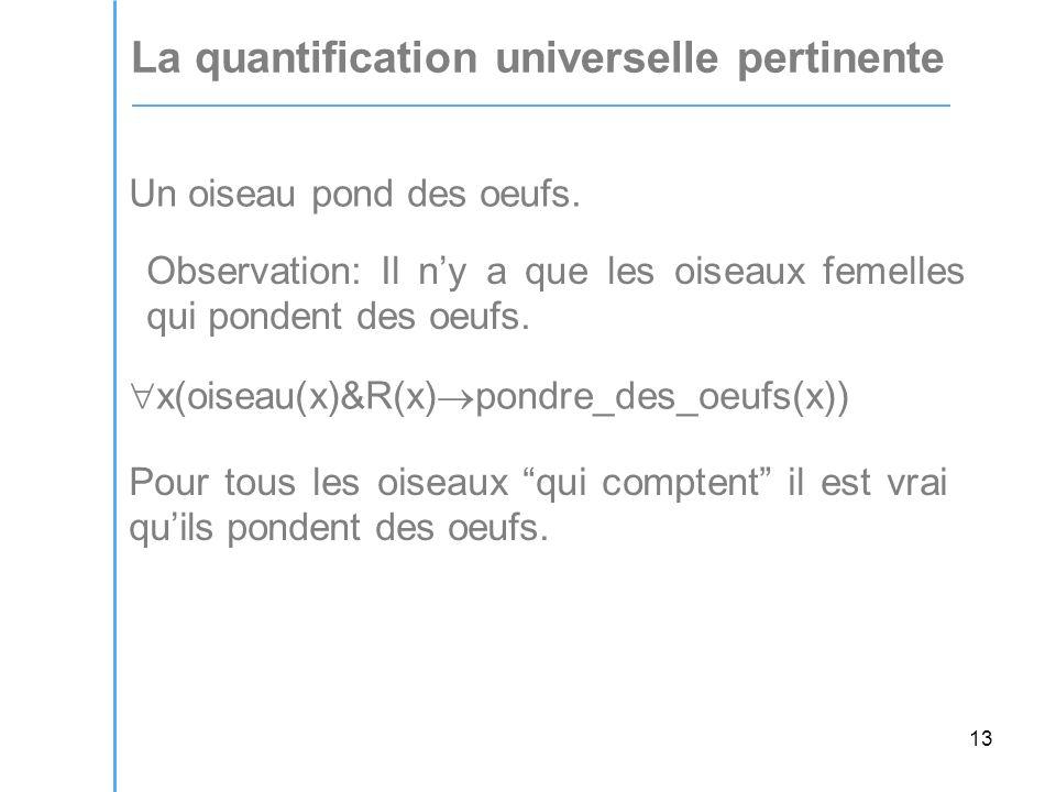 13 La quantification universelle pertinente Un oiseau pond des oeufs.