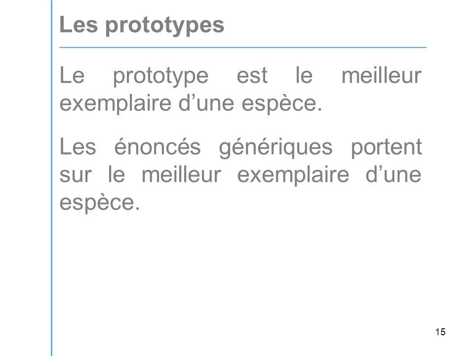 15 Les prototypes Le prototype est le meilleur exemplaire dune espèce.