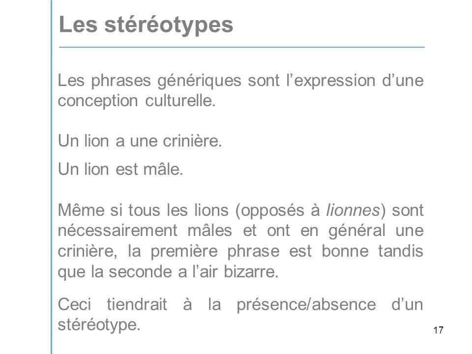 17 Les stéréotypes Les phrases génériques sont lexpression dune conception culturelle.