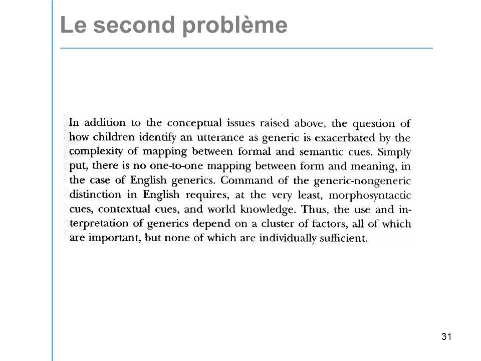 31 Le second problème