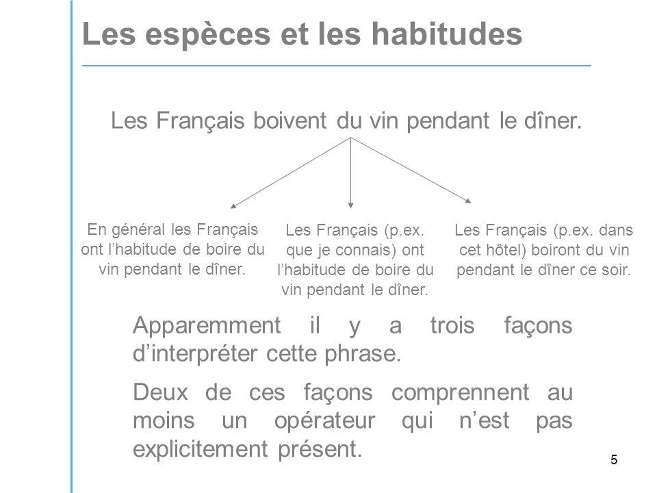 5 Les espèces et les habitudes Les Français boivent du vin pendant le dîner.