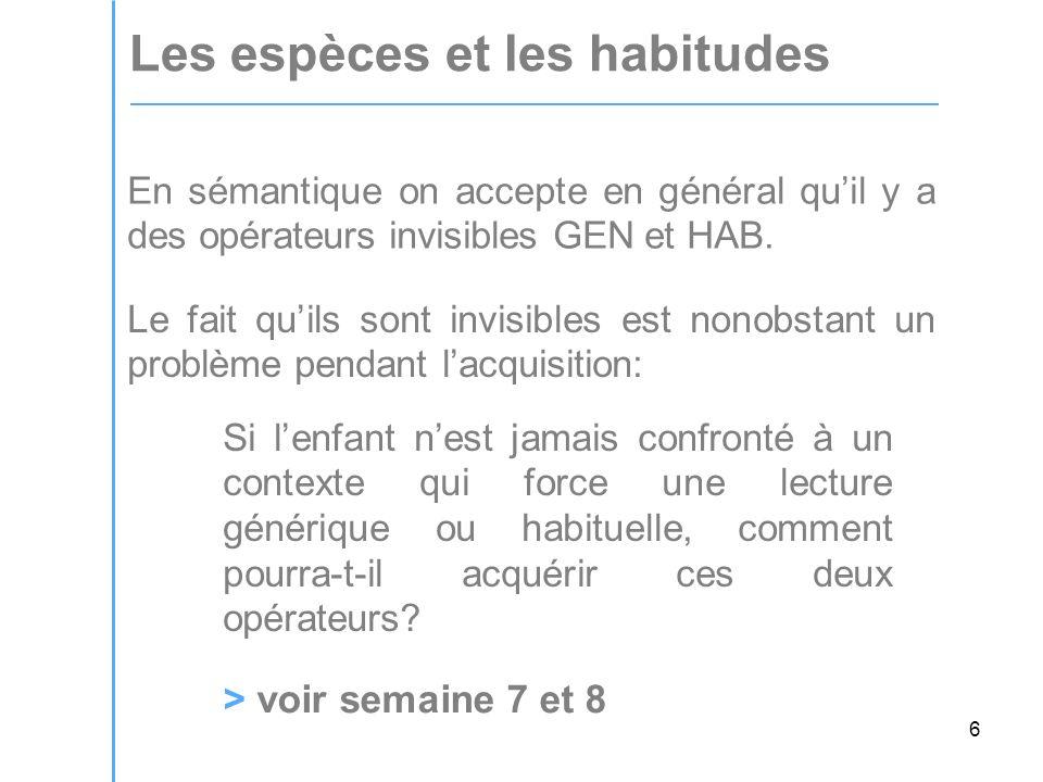 6 Les espèces et les habitudes En sémantique on accepte en général quil y a des opérateurs invisibles GEN et HAB.