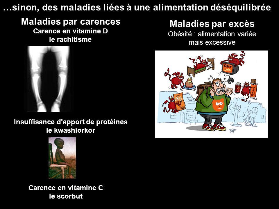 …sinon, des maladies liées à une alimentation déséquilibrée Maladies par carences Maladies par excès Obésité : alimentation variée mais excessive Care