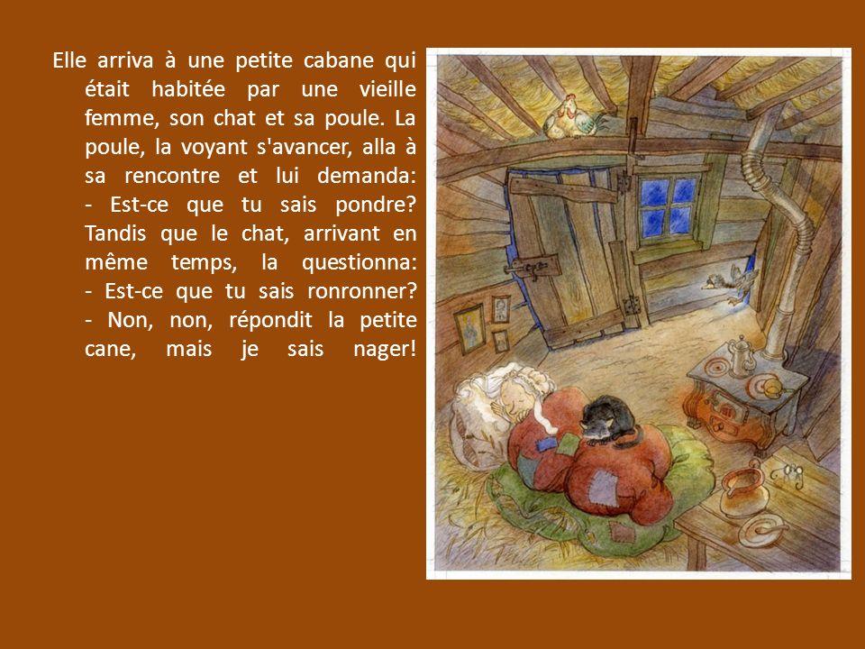 Elle arriva à une petite cabane qui était habitée par une vieille femme, son chat et sa poule. La poule, la voyant s'avancer, alla à sa rencontre et l