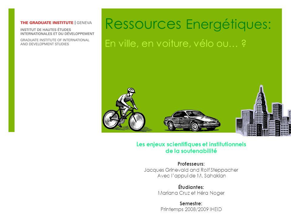 Ressources Energétiques: En ville, en voiture, vélo ou… .