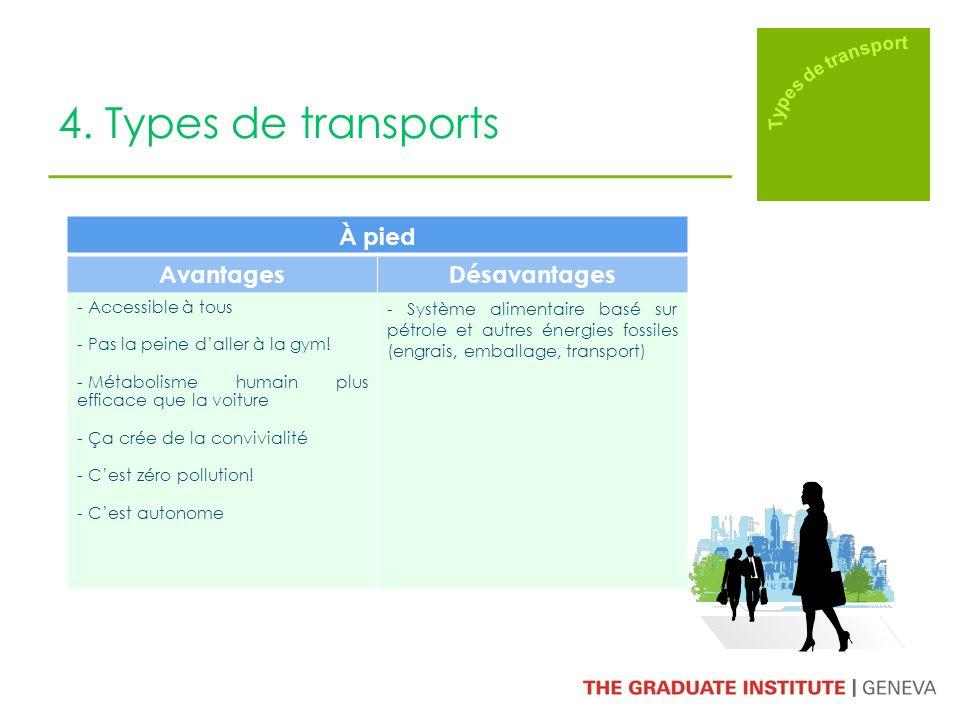4. Types de transports À pied AvantagesDésavantages - Accessible à tous - Pas la peine daller à la gym! - Métabolisme humain plus efficace que la voit