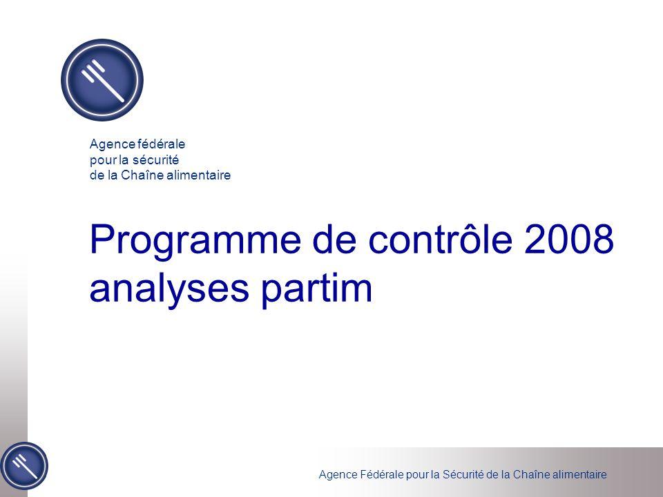 Agence Fédérale pour la Sécurité de la Chaîne alimentaire Programme de contrôle 2008 analyses partim Agence fédérale pour la sécurité de la Chaîne ali
