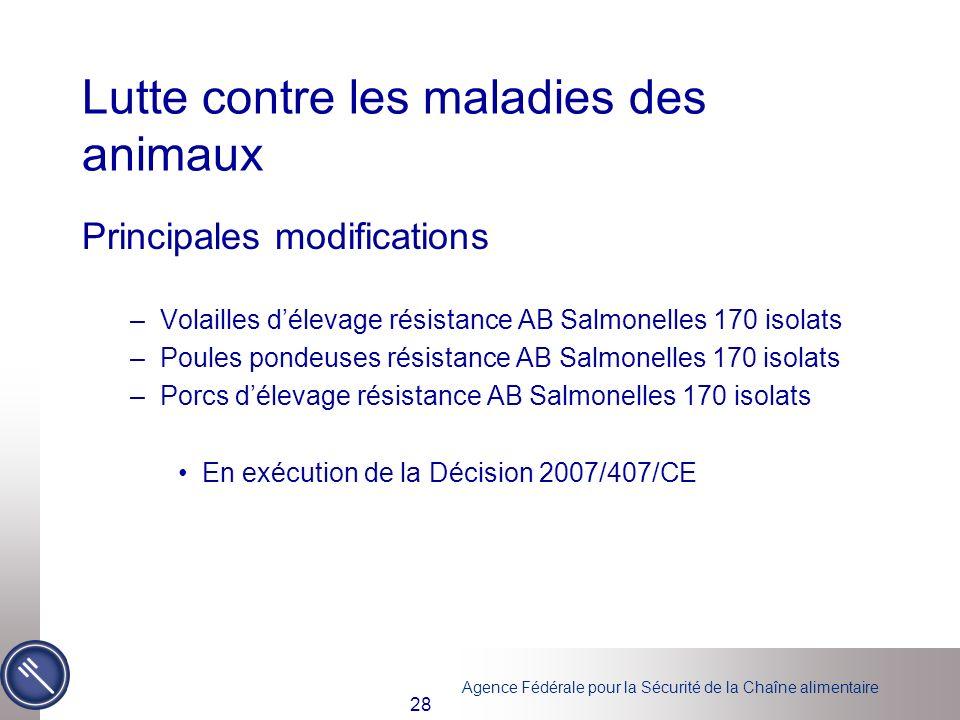 Agence Fédérale pour la Sécurité de la Chaîne alimentaire 28 Lutte contre les maladies des animaux Principales modifications –Volailles délevage résis