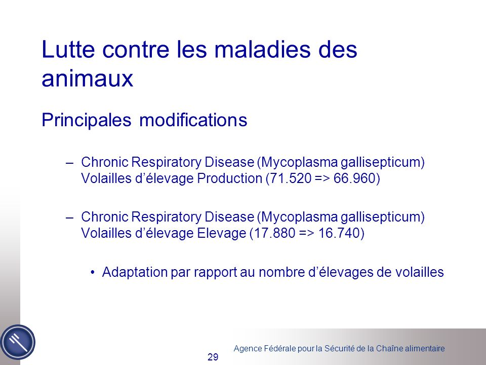 Agence Fédérale pour la Sécurité de la Chaîne alimentaire 29 Lutte contre les maladies des animaux Principales modifications –Chronic Respiratory Disease (Mycoplasma gallisepticum) Volailles délevage Production (71.520 => 66.960) –Chronic Respiratory Disease (Mycoplasma gallisepticum) Volailles délevage Elevage (17.880 => 16.740) Adaptation par rapport au nombre délevages de volailles