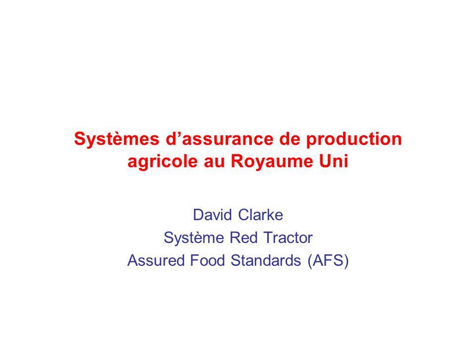 Systèmes dassurance de production agricole au Royaume Uni David Clarke Système Red Tractor Assured Food Standards (AFS)