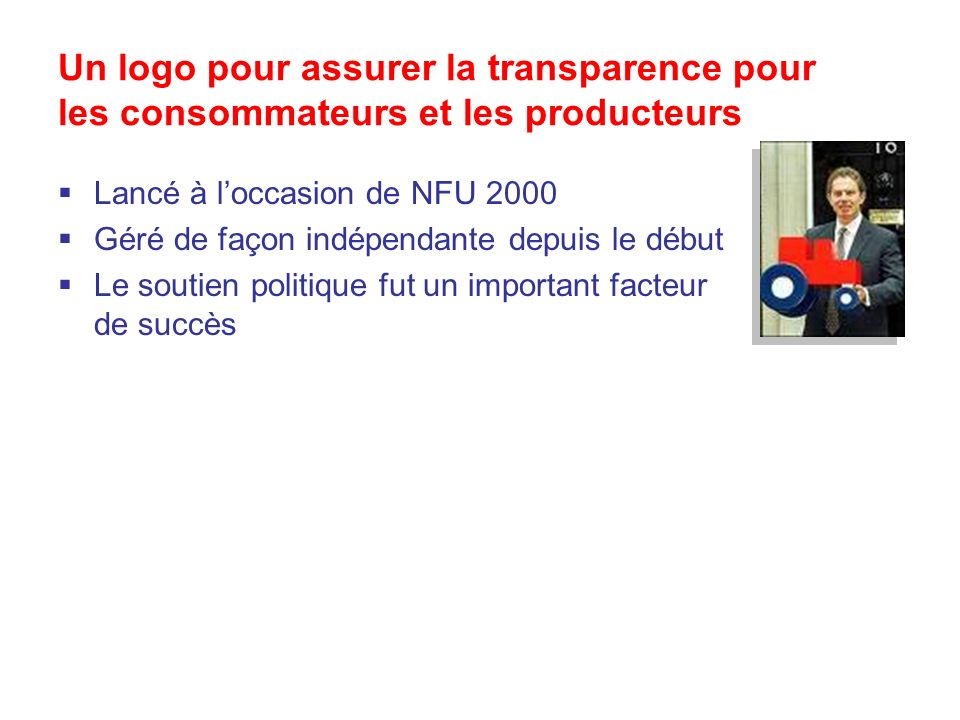 Un logo pour assurer la transparence pour les consommateurs et les producteurs Lancé à loccasion de NFU 2000 Géré de façon indépendante depuis le début Le soutien politique fut un important facteur de succès