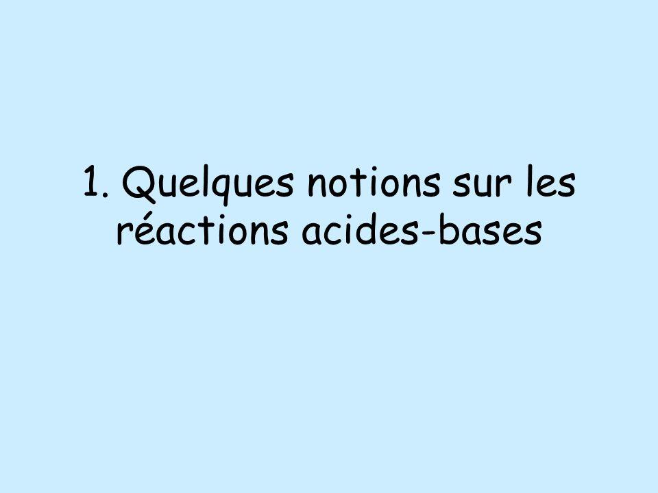 1. Quelques notions sur les réactions acides-bases