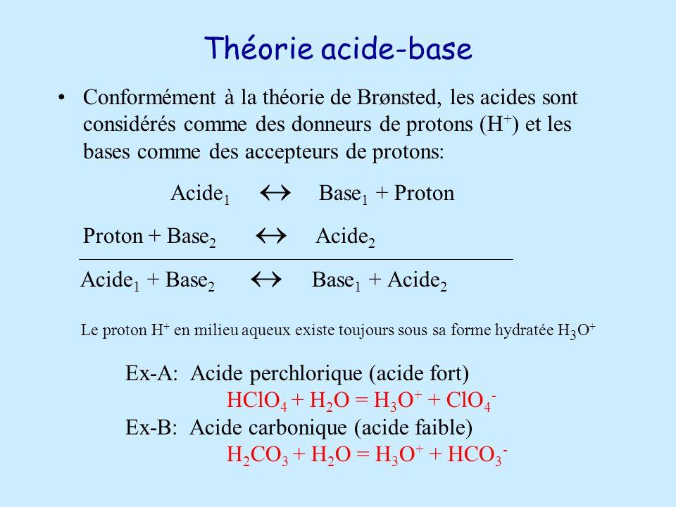 Théorie acide-base Conformément à la théorie de Brønsted, les acides sont considérés comme des donneurs de protons (H + ) et les bases comme des accepteurs de protons: Acide 1 Base 1 + Proton Proton + Base 2 Acide 2 Acide 1 + Base 2 Base 1 + Acide 2 Le proton H + en milieu aqueux existe toujours sous sa forme hydratée H 3 O + Ex-A: Acide perchlorique (acide fort) HClO 4 + H 2 O = H 3 O + + ClO 4 - Ex-B: Acide carbonique (acide faible) H 2 CO 3 + H 2 O = H 3 O + + HCO 3 -