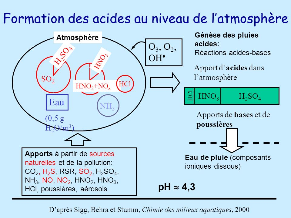 Formation des acides au niveau de latmosphère Apports à partir de sources naturelles et de la pollution: CO 2, H 2 S, RSR, SO 2, H 2 SO 4, NH 3, NO, N