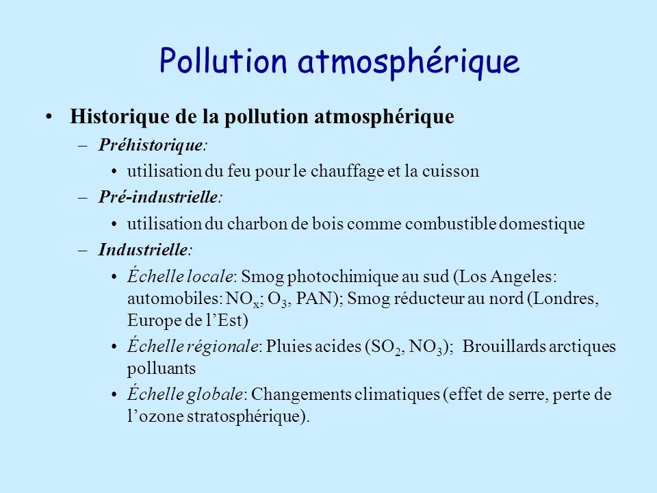 Pollution atmosphérique Historique de la pollution atmosphérique –Préhistorique: utilisation du feu pour le chauffage et la cuisson –Pré-industrielle: utilisation du charbon de bois comme combustible domestique –Industrielle: Échelle locale: Smog photochimique au sud (Los Angeles: automobiles: NO x ; O 3, PAN); Smog réducteur au nord (Londres, Europe de lEst) Échelle régionale: Pluies acides (SO 2, NO 3 ); Brouillards arctiques polluants Échelle globale: Changements climatiques (effet de serre, perte de lozone stratosphérique).