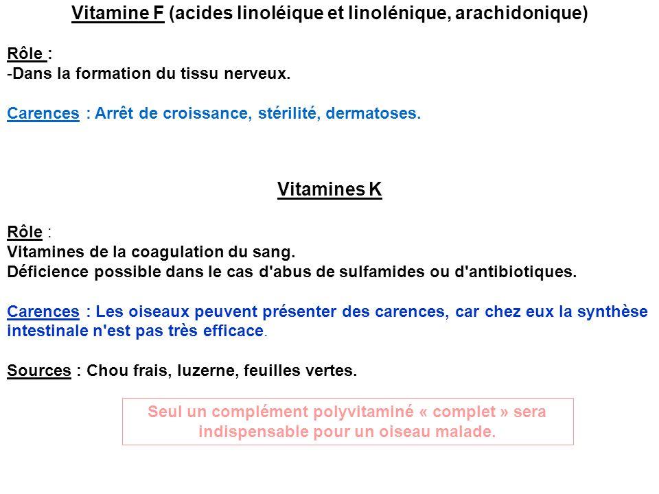Vitamine F (acides linoléique et linolénique, arachidonique) Rôle : -Dans la formation du tissu nerveux. Carences : Arrêt de croissance, stérilité, de