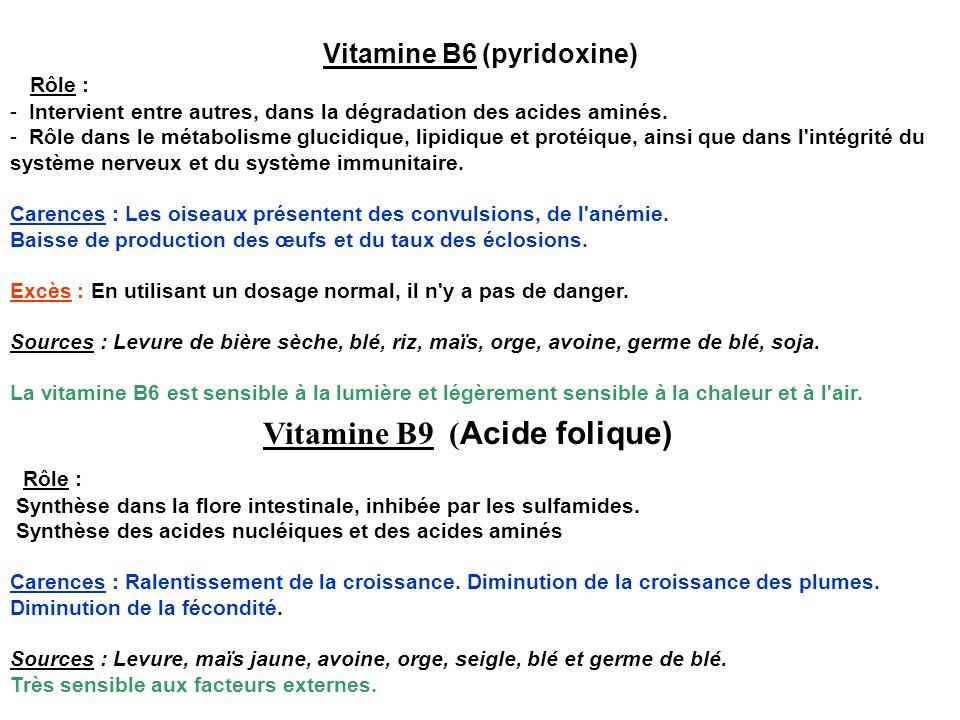Vitamine B6 (pyridoxine) Rôle : - Intervient entre autres, dans la dégradation des acides aminés. - Rôle dans le métabolisme glucidique, lipidique et