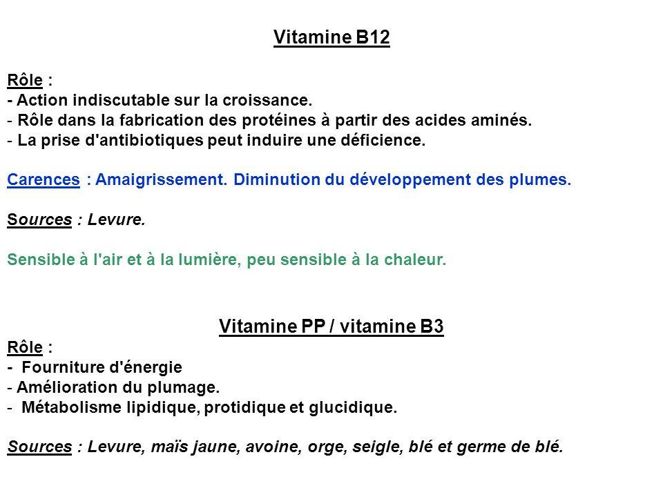 Vitamine B12 Rôle : - Action indiscutable sur la croissance. - Rôle dans la fabrication des protéines à partir des acides aminés. - La prise d'antibio