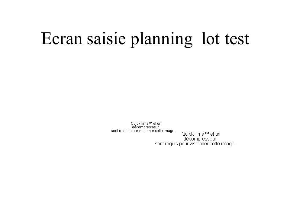 Ecran saisie planning lot test