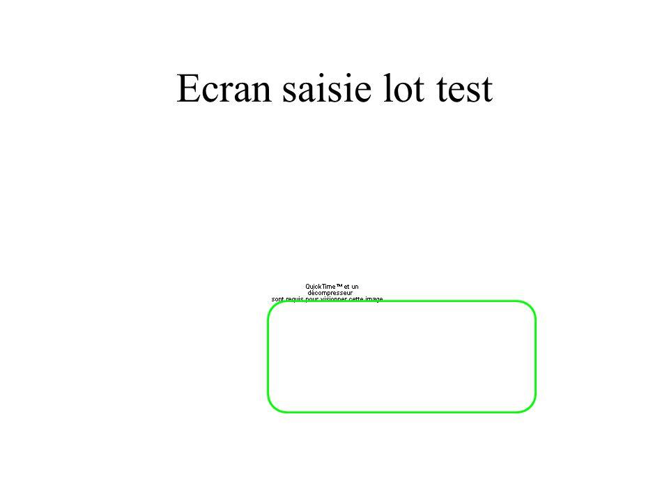 Ecran saisie lot test