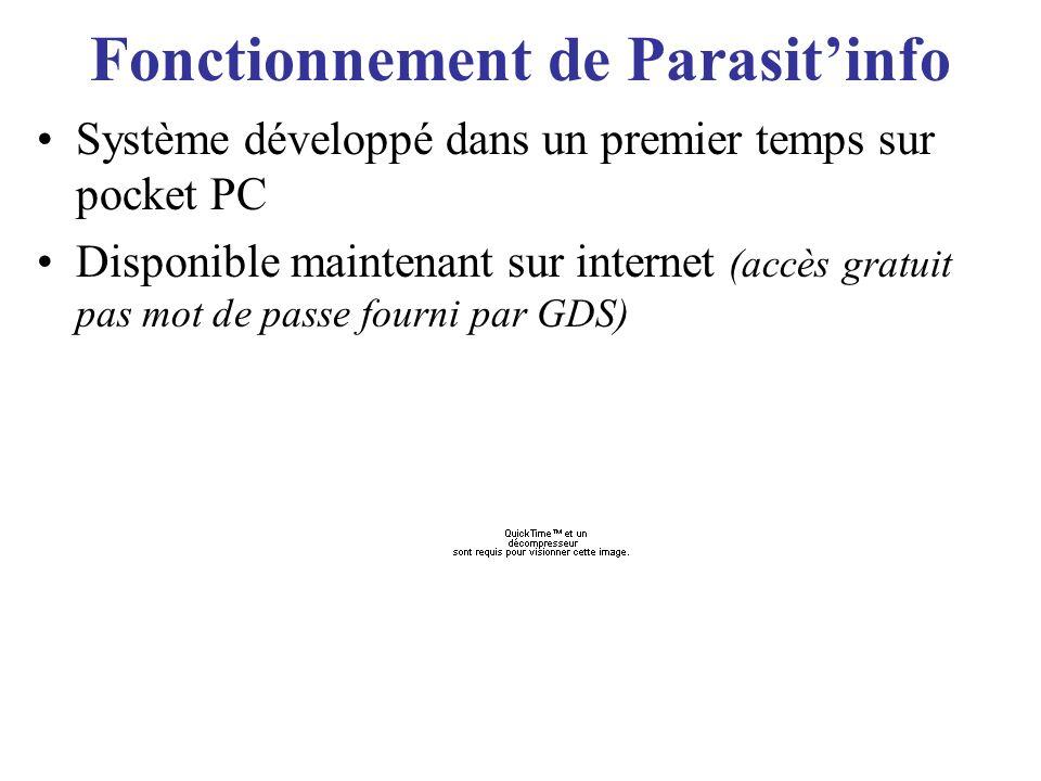 Fonctionnement de Parasitinfo Système développé dans un premier temps sur pocket PC Disponible maintenant sur internet (accès gratuit pas mot de passe