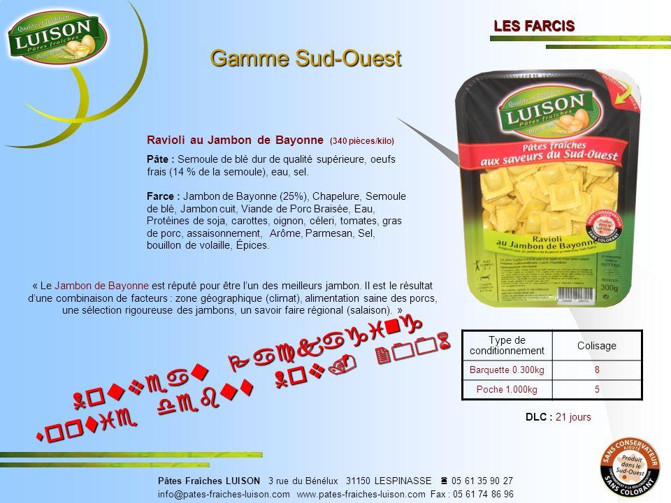 LES FARCIS Ravioli au Jambon de Bayonne (340 pièces/kilo) « Le Jambon de Bayonne est réputé pour être lun des meilleurs jambon.