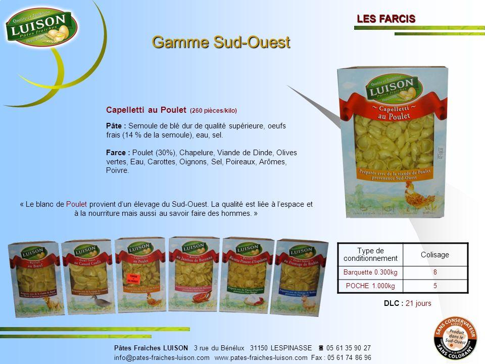 Capelletti au Poulet (260 pièces/kilo) Pâte : Semoule de blé dur de qualité supérieure, oeufs frais (14 % de la semoule), eau, sel.