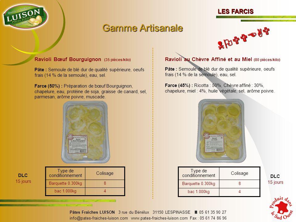Ravioli Bœuf Bourguignon (35 pièces/kilo) Pâte : Semoule de blé dur de qualité supérieure, oeufs frais (14 % de la semoule), eau, sel.