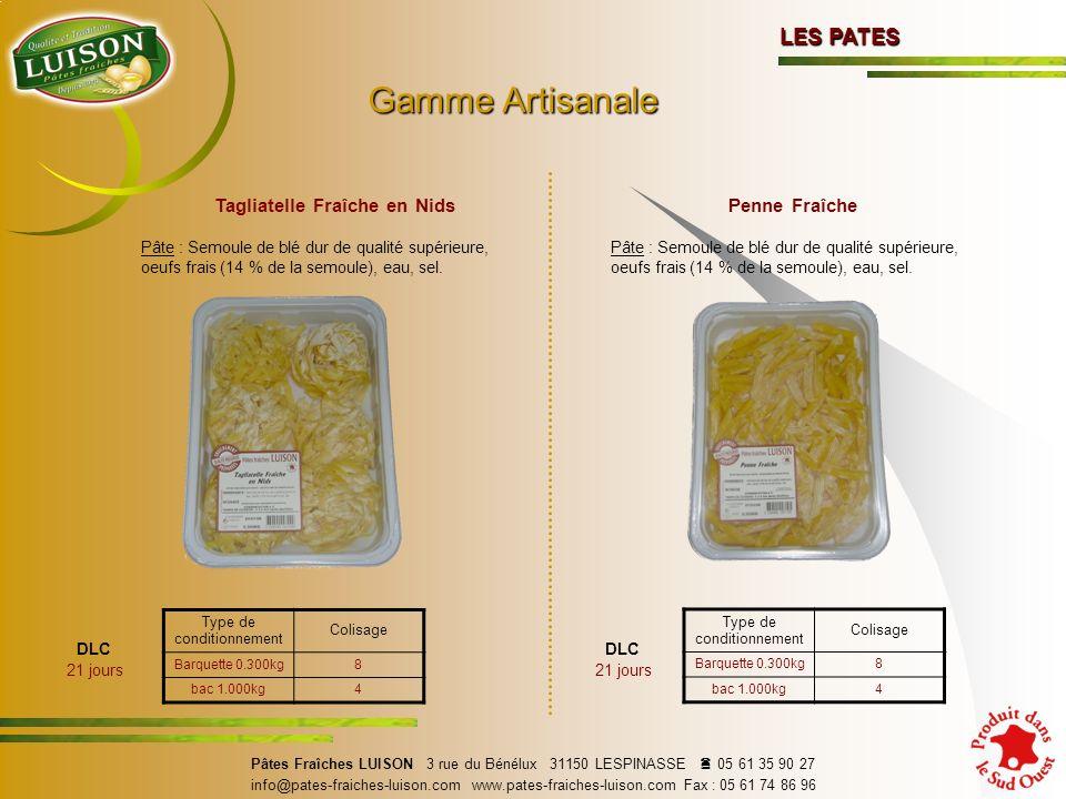 Tagliatelle Fraîche en Nids Pâte : Semoule de blé dur de qualité supérieure, oeufs frais (14 % de la semoule), eau, sel.