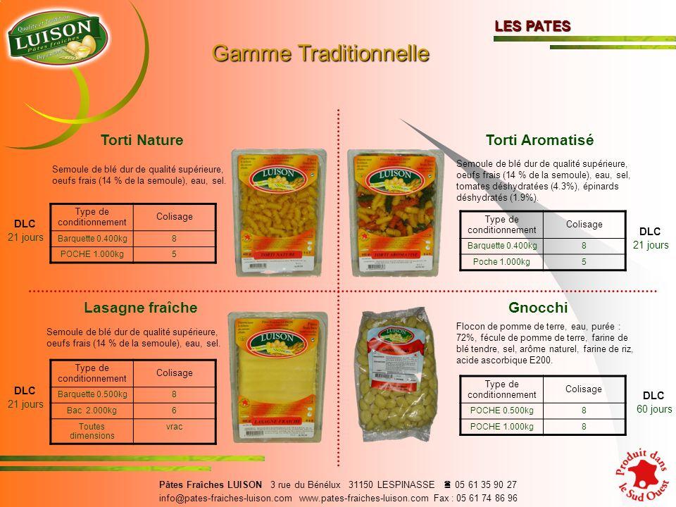 Torti Nature Semoule de blé dur de qualité supérieure, oeufs frais (14 % de la semoule), eau, sel.