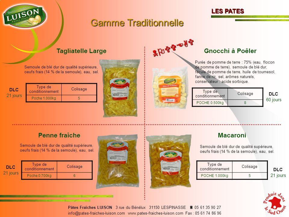 Penne fraîche DLC 21 jours Semoule de blé dur de qualité supérieure, oeufs frais (14 % de la semoule), eau, sel.