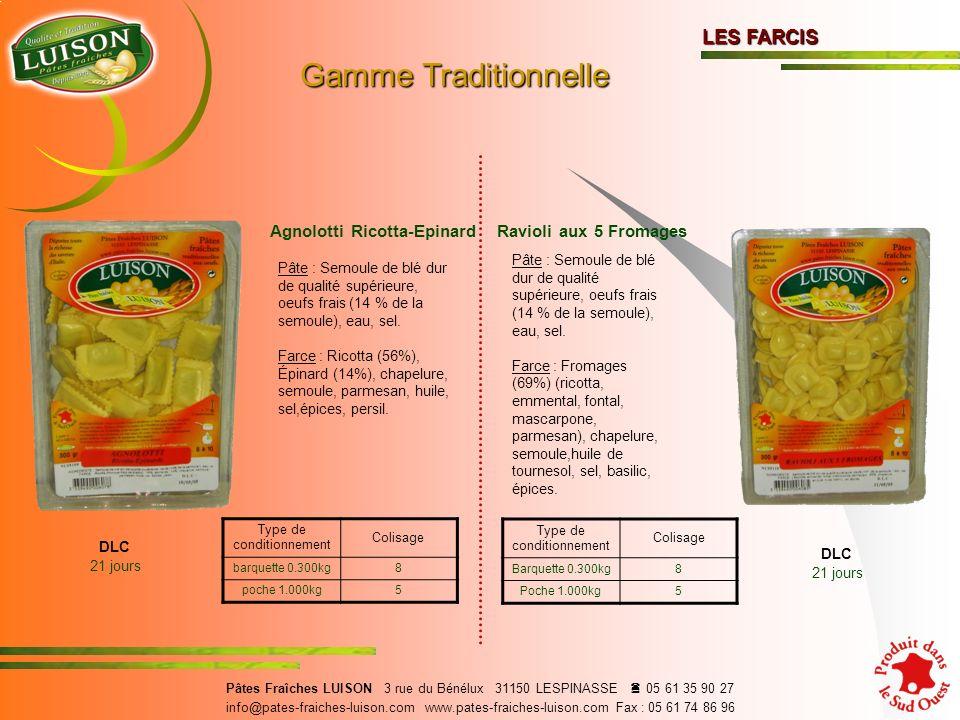 Agnolotti Ricotta-Epinard Pâte : Semoule de blé dur de qualité supérieure, oeufs frais (14 % de la semoule), eau, sel.