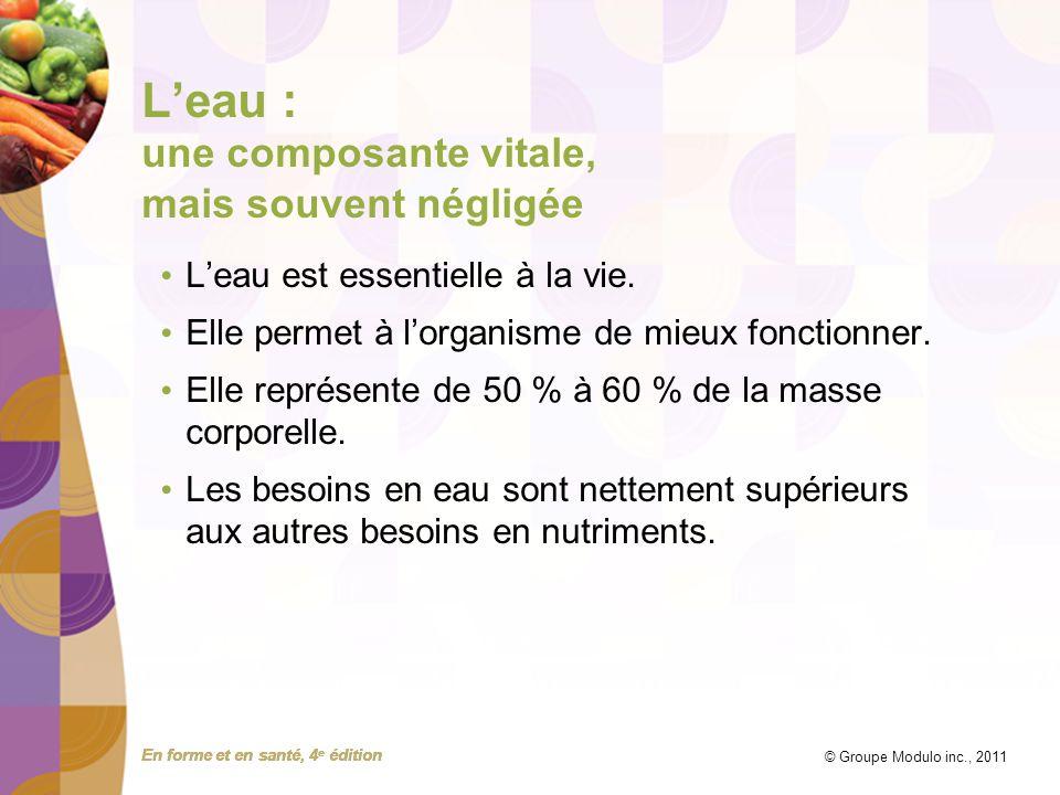 En forme et en santé, 4 e édition © Groupe Modulo inc., 2011 Leau : une composante vitale, mais souvent négligée Leau est essentielle à la vie. Elle p